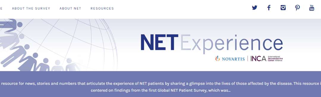 A website promotes The Global NET Survey collaborative project of INCA and Novartis