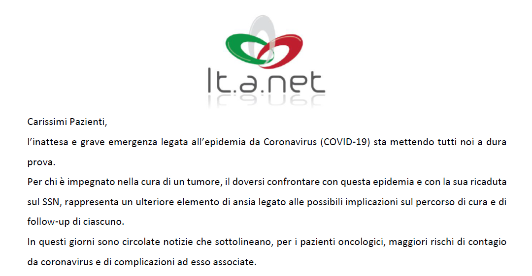 NET Italy Onlus Joins Forces With It.a.net to Support NET Patients Amidst COVID-19 Crisis