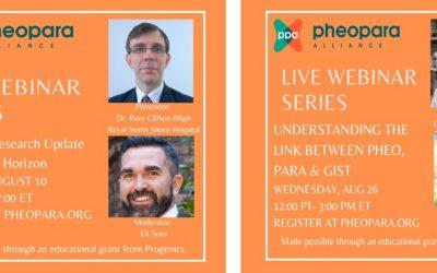 2 Live Webinar Series for Pheo & Para in August