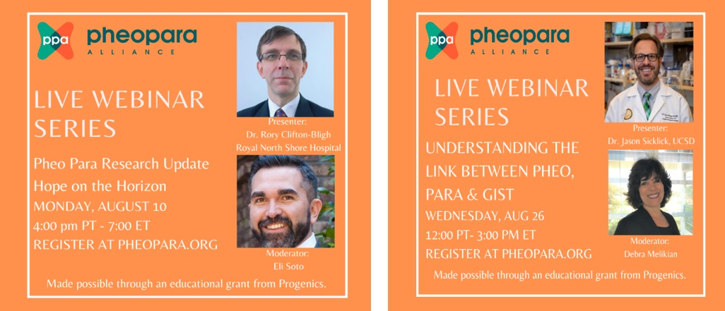 2 Live Webinar Series for Pheo & Para in August