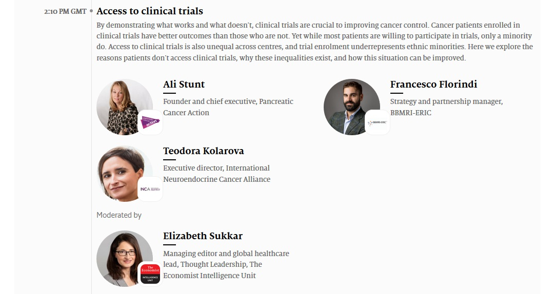 Access to NET Clinical Trials Discussed at Economist World Cancer Series: Europe 2020