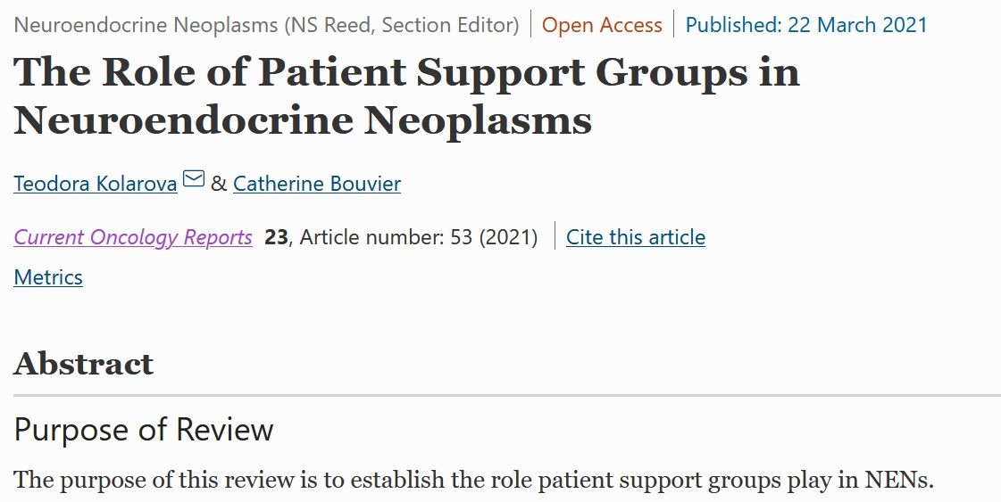 The INCA Review of the Role of Patient Support Groups in NENs Published as an Open-Access Article